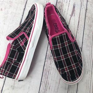 Vans women's pink/black plaid slip on sneaker